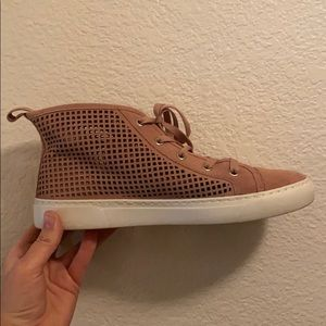 1. State pink high top shoe